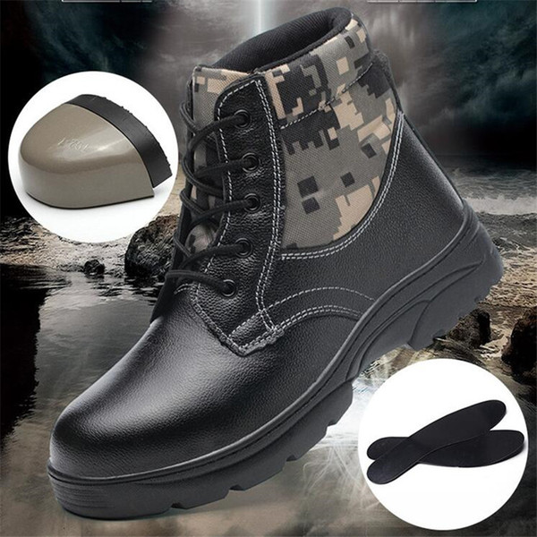 Winter Mens Steel Toe Safety Leather Boots Velvet Anti-puncture Warm Cotton Shoe
