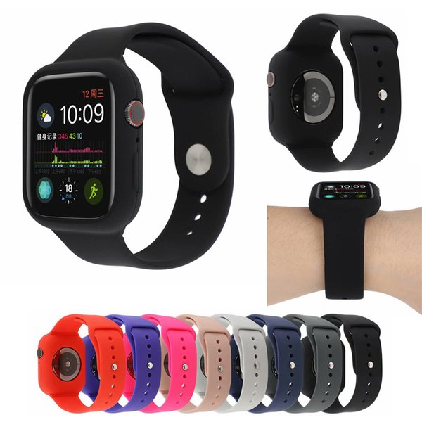 Silicone Strap with frame Case for Apple Watch 4 3 2 1 Series Soft Band Protective Cover for iwatch 38mm/40mm/42mm/44mm