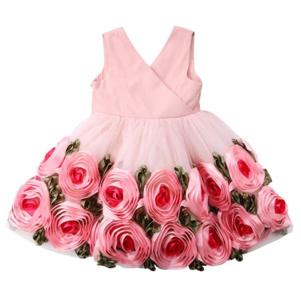 Heiße Verkäufe Kinder Rose Blumenmädchen Kleid Vestidos Mädchen Kleinkind Geburtstag Prinzessin Hochzeit oder Party Pageant Formelle Ballkleider