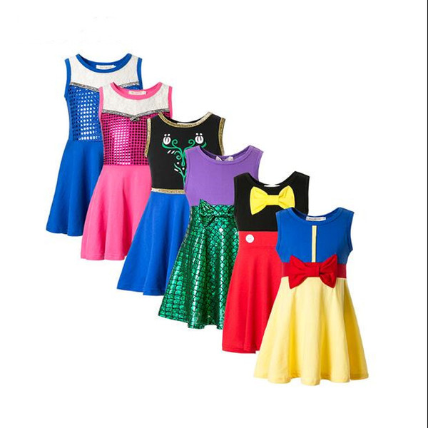 Kids Clothes Mermaid Girls Dresses Belle Cindrella Dresses Snow White Princess Party Cosplay Costume Summer Cartoon Casual Trip Frocks A5233