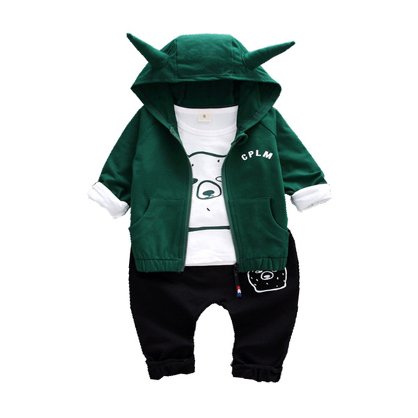 Spring Autumn Children Boys Girls Cotton Garment Baby Cartoon Bear Hoodies T-shirt Pants 3Pcs/Set Fashion Kid Clothing Tracksuit