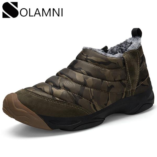 camouflage men snow boots winter shoes women waterproof warm fur platform boots nonslip ankle couple slip on flat shoe 46