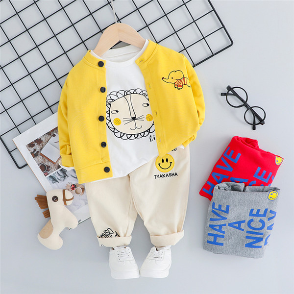 WENWENDEXINGFU Autumn Baby Boys Girls Clothing Sets Toddler Infant Clothes Suits Lion Coats T Shirt Pants Children Costume