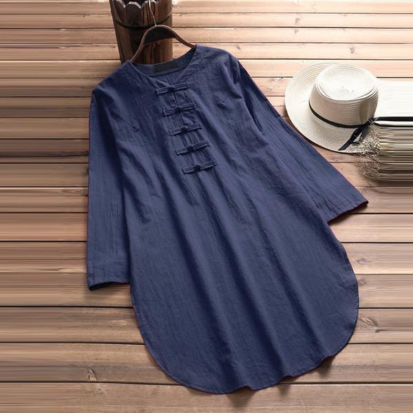 Artı Boyutu 5xl Womens Tops Ve Bluzlar Harajuku Keten Vintage Uzun Kollu Uzun Gömlek Tunik Bayanlar Üst Kadın Giysileri