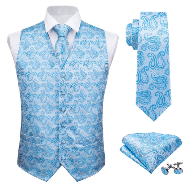 Barry.Wang Designer Mens Fahsion Azul Paisley Jacquard Tejido 100% Chalecos de seda Chaleco Pañuelo Corbata Traje Conjunto de gemelos