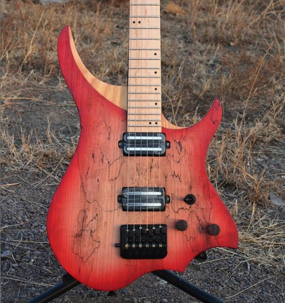 2019 new Marsh Maple Headless Electric Guitar ASH Body Flame Maple Qin Neck Luminous Side Item Flame Maple Fingerboard