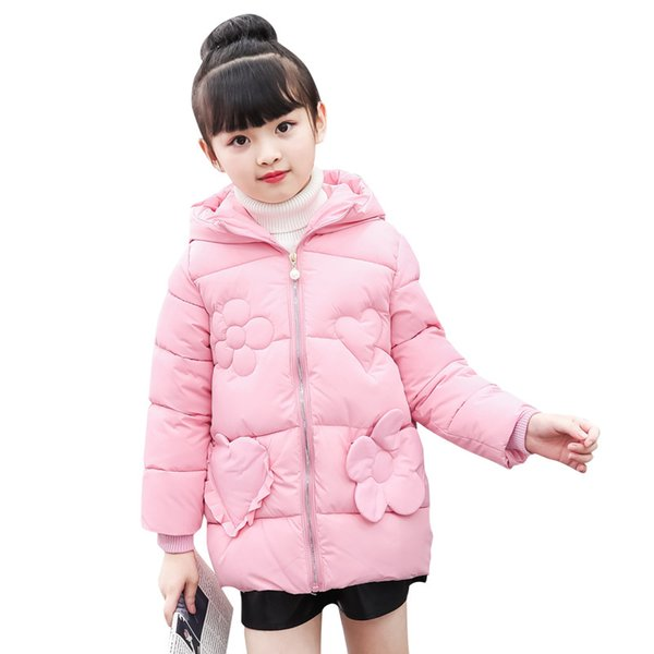 New Baby Girl Autumn Winter Coat with Hood Thicken Parkas Warm Design Solid Color Cotton Girl Clothes with Floral Decor Jackets
