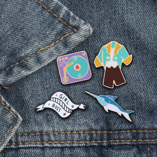Cartoon brooch clothes recorder GIRL BOSS game brooches enamel pins Lovers Shirt Denim Jackets lapel jewelry badge dropshipping
