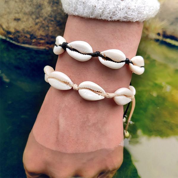 Bohemian Cowrie Shell Jewelry Bracelets For Women Adjustable Weave Black White Couple Bracelet & Bangles 2019 Drop shipping