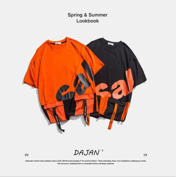 2019 verão nova marca de roupas masculinas maré nacional marca nacional grande impressão tamanho grande T-shirt dos homens em torno do pescoço de algodão casal modelos