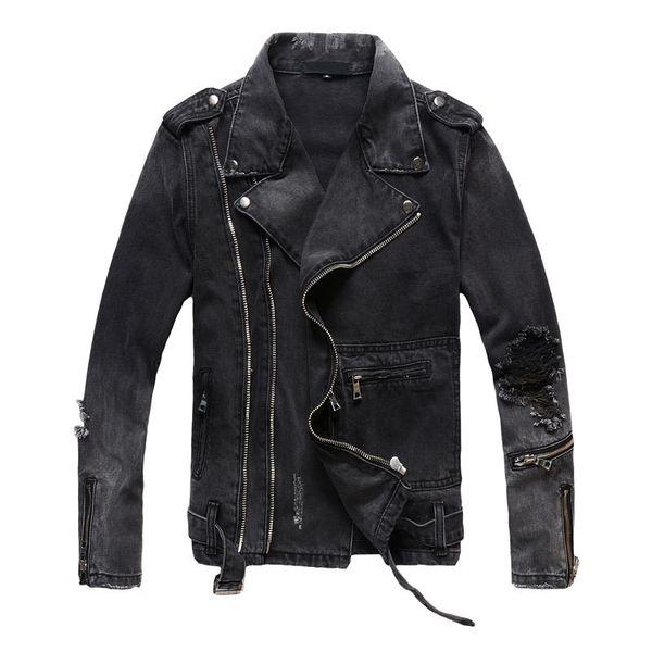 Uplzcoo New Fashion Biker Denim Jackets Men Black Hole Zippers Denim Coat Jackets Casual Men Clothing Casaco Masculino EM157MX190828