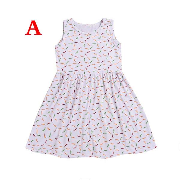 2019 new fashion Baby chili dress Pepper Feathers full print Princess dresses Kids Clothing Boutique girls dress