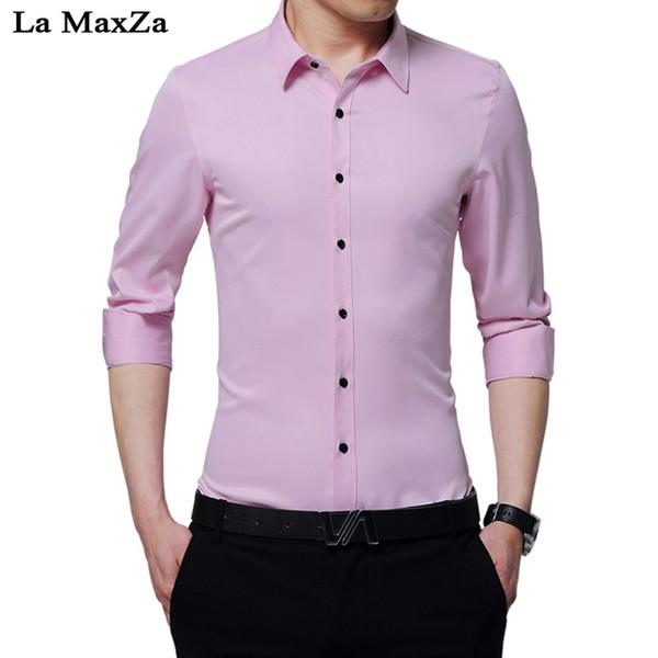 La MaxZa 2018 Herbst Neues langärmliges Hemd Herren Business Casual Dress Korean Slim 6 Farben Hemd Arbeit Lässig Hochzeitsbankett