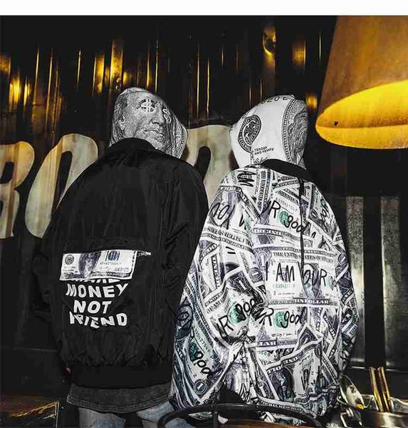 Mens Usure Double Face Baseball Veste Hip Hop Dollar Billet Imprimé Vestes Hommes Femmes Streetwear Mode Vestes et Manteaux