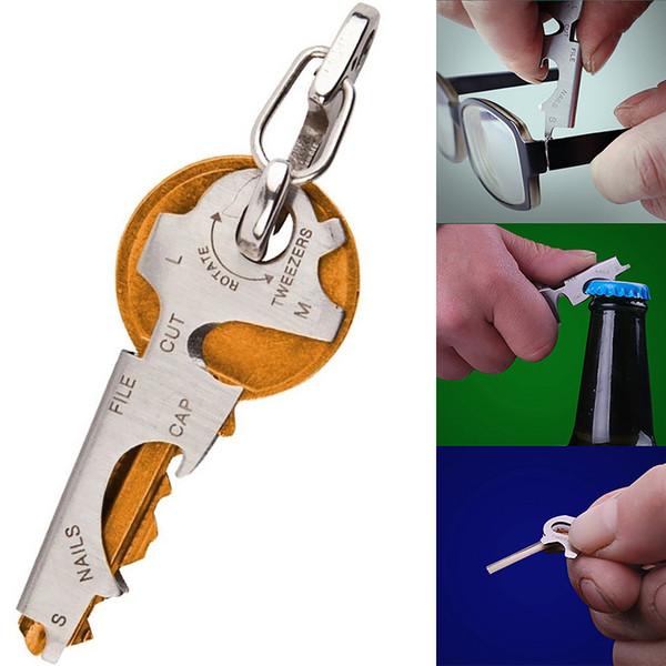 8 en 1 Multi Tool Llave de acero inoxidable Herramienta multifuncional para exteriores Herramienta de múltiples funciones para múltiples anillos Abridor de botellas