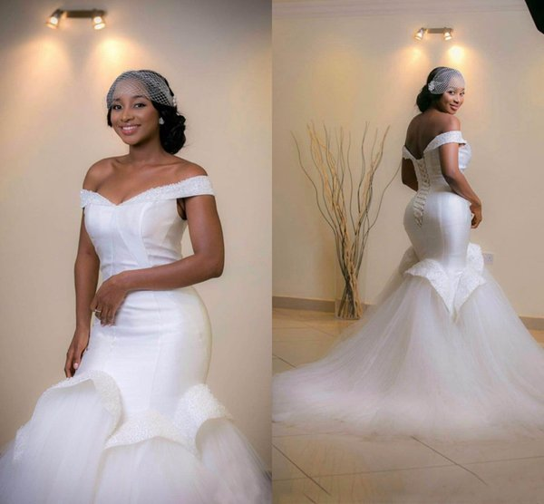Off The Shoulder Beading Nigerian Mermaid Wedding Dresses Ruched Skirt Long Tulle Bridal Gown Lace-up Back Vestidos Plus Size AL2685