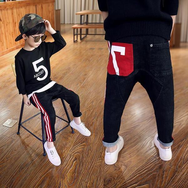 Boys Pants 2019 New Autumn Kids Clothing Big Boys Jeans Doll Cotton Trousers Baby Children Harem Roupas Infantis Menina Leggings Y19051504