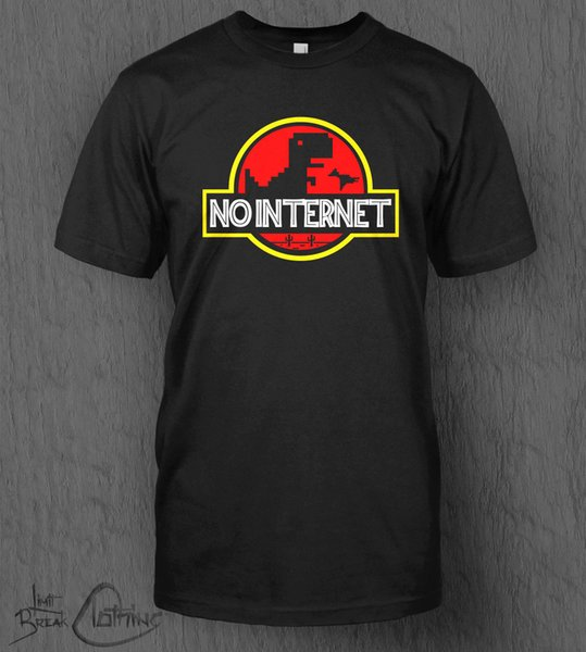 10a3580d3 No Internet T-Shirt MEN'S Jurassic Park Jurassic World Google Chrome Game  Dino Men Women