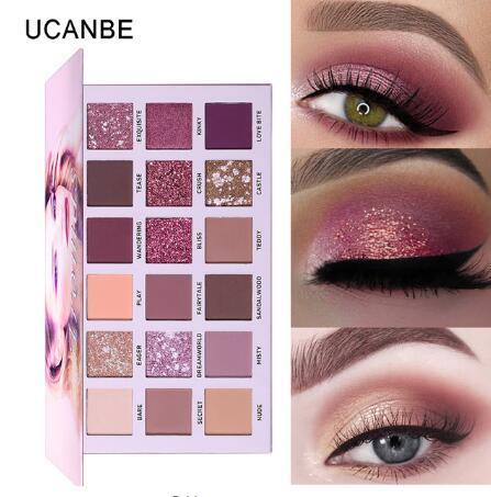 UCANBE Brand New Nude Lidschatten-Palette 18 Farben Glitter Matte Shimmer Shades Rosy Pink Lidschatten Wasserdicht Beauty Makeup Kit