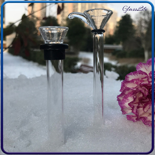 Glass male slides and female stem slide funnel style with black rubber simple downstem for water glass bong glass pipes bubblers free ship