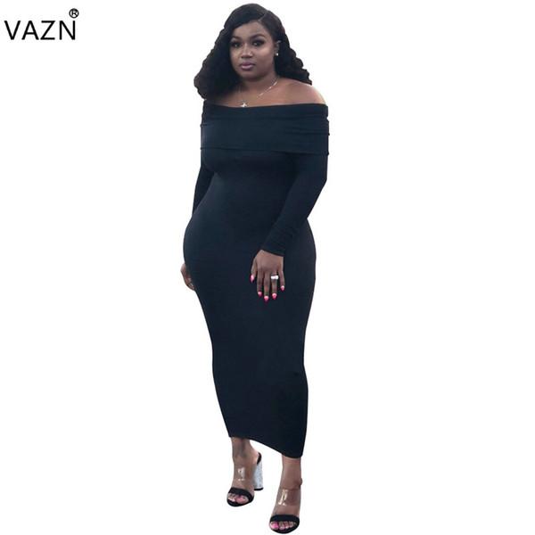 VAZN 2018 Outono Quente Elegante Sólido 2-Cores Vestido Longo Mulheres Completo Manga Slash Pescoço Vestido Sexy Magro Feminino SY8298