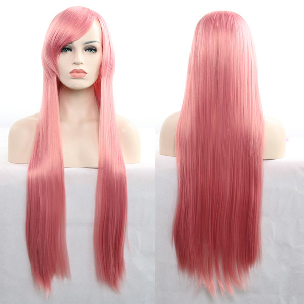 Cartoon perruque cosplay droite longue perruque 80cm rouge et blanc long synthétique perruques pour femme Glueless Cosplay Hair Fashion Extention