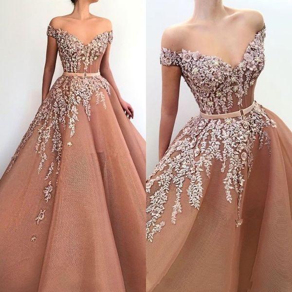 Stunning Off-the-Shoulder Appliques Evening Dresses 2019 Tulle Long Prom Gowns robes de soirée gold dresses Robes quinceanera dresses
