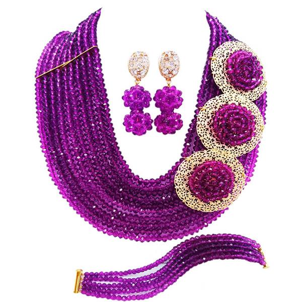 Purple African Wedding Beads Necklace Bracelet Earrings Sets Nigerian Jewelry Set 10SPH08