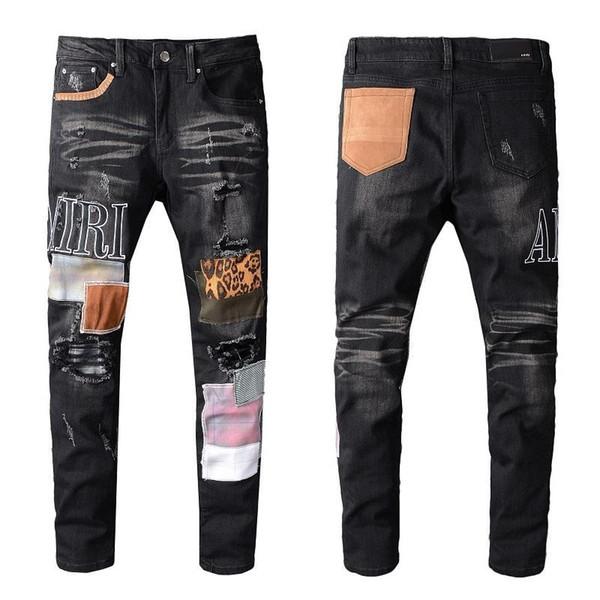 Амир джинсы новый мужской проблемные рваные байкер джинсы Slim Fit мотоцикл байкер причинно отверстие джинсы уличная мода дизайнер брюки