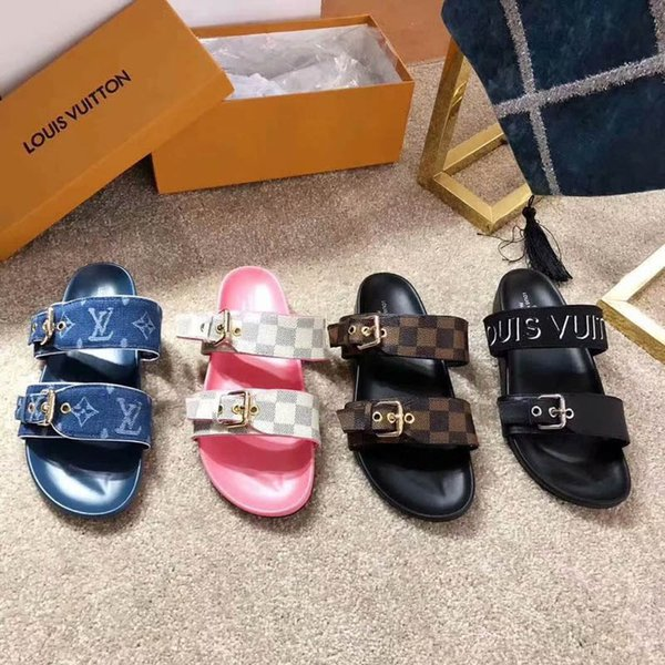 WITH BOX Brand Women Print Patent Leather Bom Dia Mule On-trend Slide Sandal Designer Lady Colorful Canvas Anatomic Leather Outsole Slipper