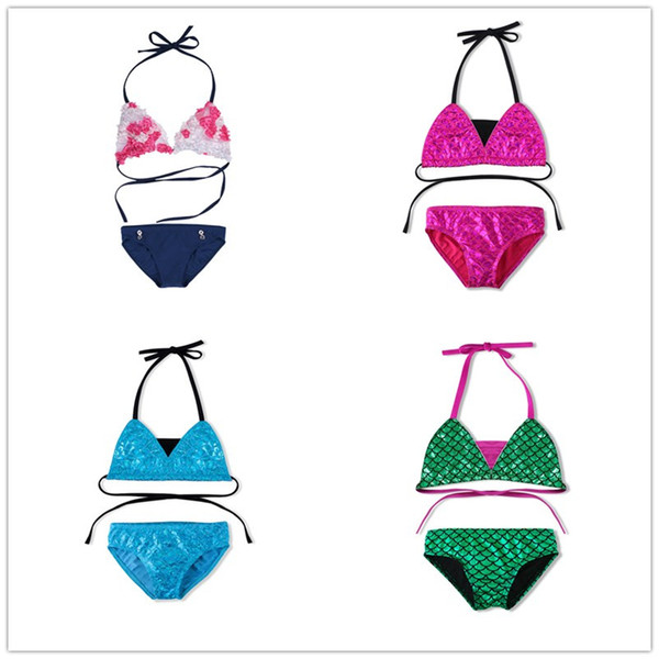 Meninas do bebê verão sexy sereia biquíni maiô de duas peças swimwear crianças meninas duas peças de biquíni set beachwear cortado