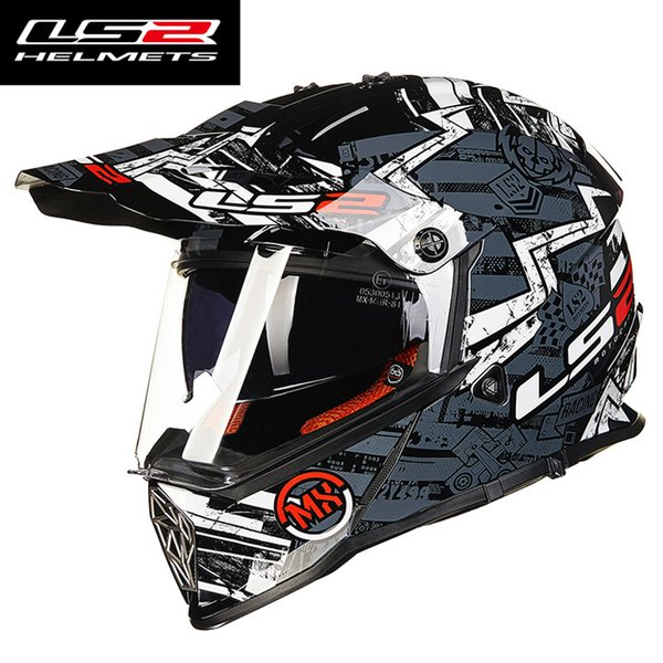 LS2 mx436 mens motocross helmet dual lens Racing motorcycle helmets off road full face motorbike helmet ECE Approved