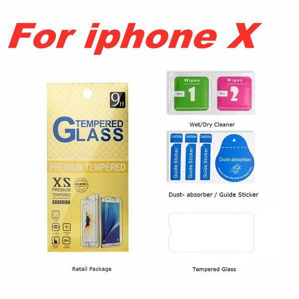 For 2018 NEW Iphone XR XS MAX 8PLUS X Tempered glass Screen Protector Anti-fingerprint for Iphone 6 Samsung S8 S7 Edge Plus Paper Package