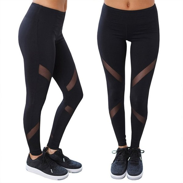 Women Yoga Pants Net Yarn Patchwork High Waist Elastic Running Fitness Slimming Sport Pants Gym Leggings Trousers #147356