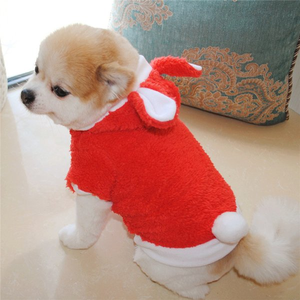 Drop Shipping Winter Warm Pet Dog Clothes Small Dogs Rabbit Ear Hooded Dress Up Dog Coat Jacket Costume For Puppy Pug Chihuahua