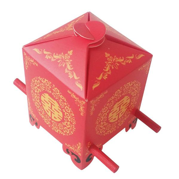 Chinese Asian Style Red Double Happiness Sedan Chair Wedding Favor Box Party Gift Favor Candy Box wedding Decoration