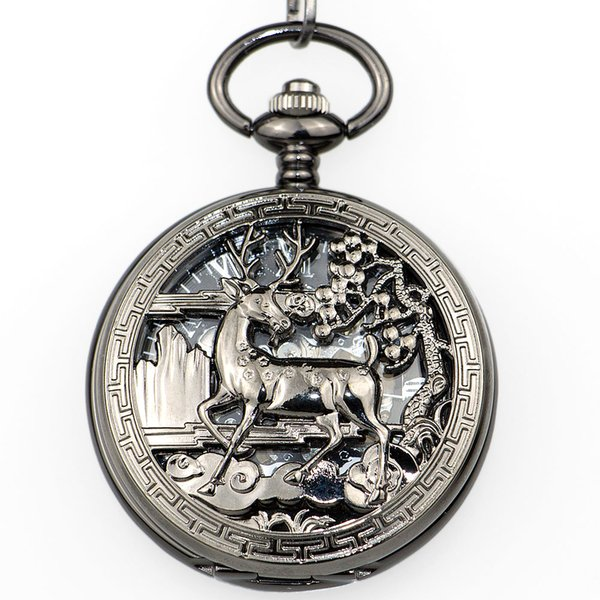 Best Vintage Silver Deer Mehcanical Pocket Watch Men Steampunk Hollow Skeleton Fob Hand Winding with Fob Chain Neckalce PJX1337