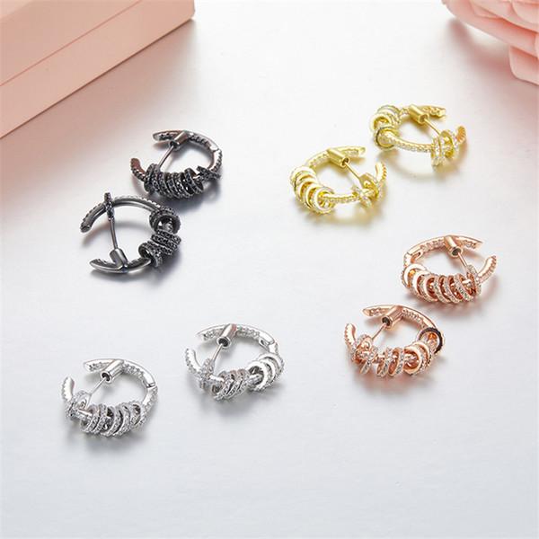 Marque de luxe européenne et américaine S925 Silver Micro Pave zircon boucles d'oreilles petit cercle bijoux de mode