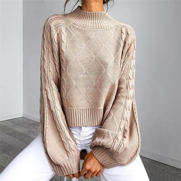 autumn winter 2019 women sweaters pullovers turtleneck lantern sleeve knitted sweater female khaki twist pull jumpers