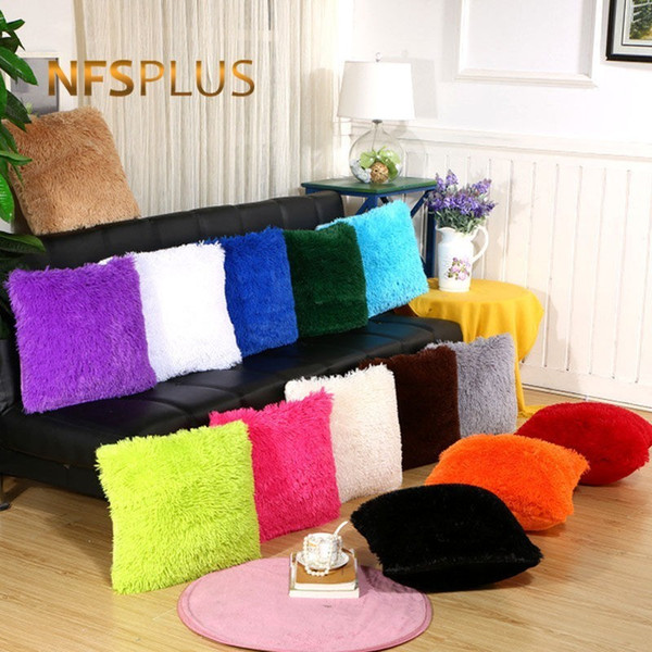 Plush Sofa Cushion Cover 43x43cm Square Pillowcase Solid White Black Red Purple Green Grey Decorative Throw Pillow Covers Cases
