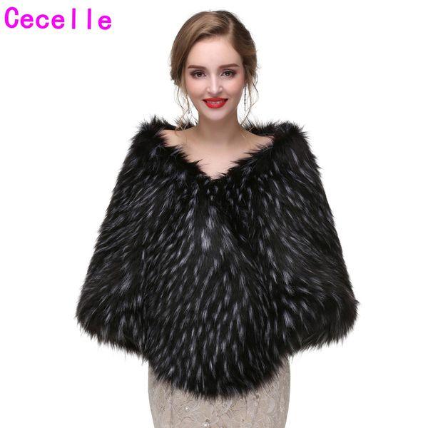 Black and White Winter Bridal Faux Fur Wraps Bridesmaid Black Faux Fur Shawl Cape For Wedding Party Adult Women Winter Fur Wrap