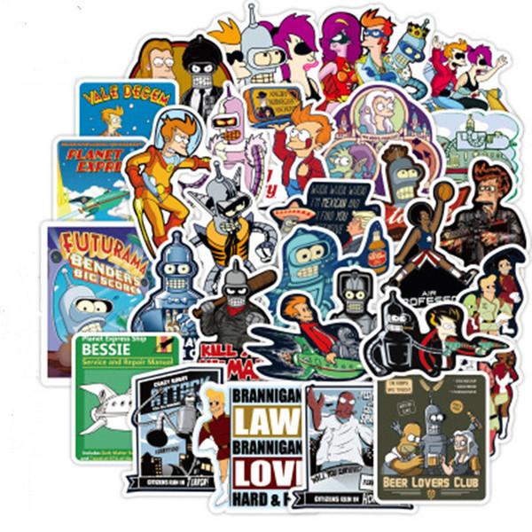 Patchfan 74 шт. Futurama мультфильм смешные пвх наклейки для поделки украшения скрапбукинг багаж скейтборд ноутбук настенная гитара A1938 L