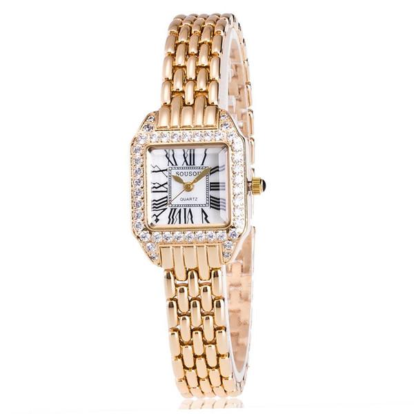 New Fashion Rhinestone Watches Women  Stainless Steel Bracelet watches Ladies Quartz Dress  reloj mujer