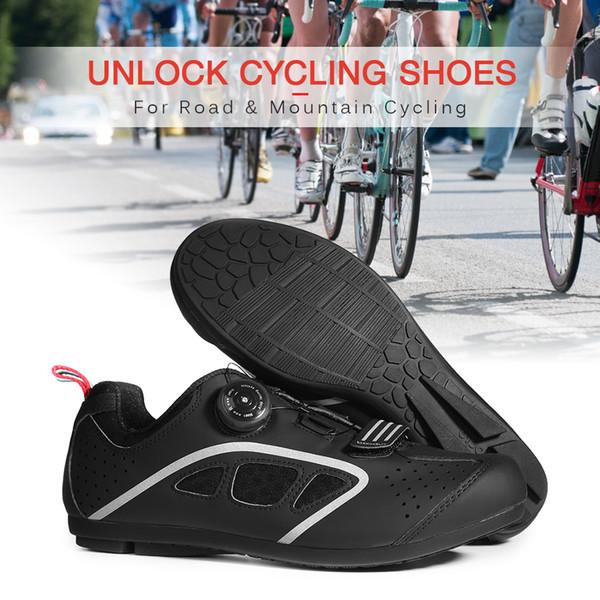 Scarpe da bici da strada Scarpe da ciclismo Sblocca le scarpe da tennis con fibbia girevole con suola in gomma antiscivolo senza serratura per uomo