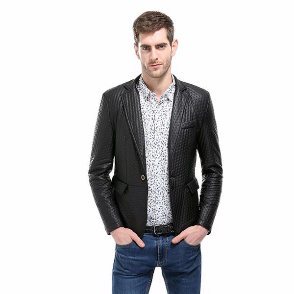 PU leather jacket mens suit jacket blazer Casual Slim Fit fashion jaqueta masculino solid short men's autumn winter