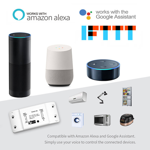 Interruptor de Luz inteligente DIY WiFi Universal Breaker Vida Inteligente APP Controle Remoto Sem Fio Funciona com Alexa Google Home