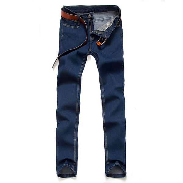 Calças de brim do homem dos homens de cor pura de 2019 Reparar o corpo Calças Lápis tamanho Grande dos homens desgaste Lazer Novo padrão de moda cowboy calças