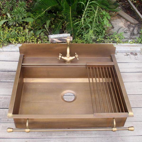 best selling brass bar undermount smooth surface brass kitchen sink single bowl copper kitchen sink