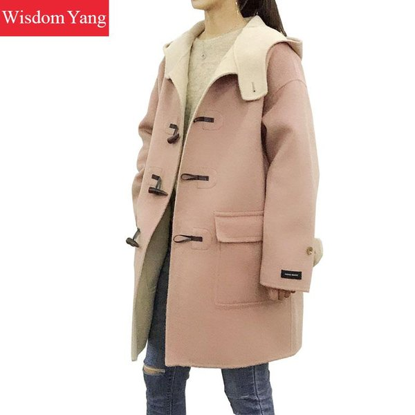 Winter Warm Yellow Blue Sheep Wool Coat Trench Womens Horn Button Hooded Pink Ladies Woollen Overcoat Coat Outerwear