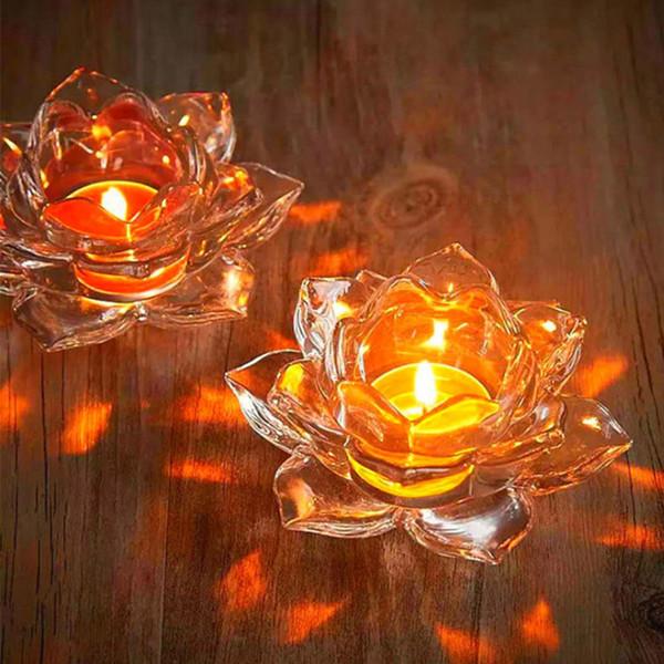 I titolari Nuovo Gass Lotus candela 7 colori Candeliere candela di vetro del supporto del basamento della luce del tè Tabella Centrotavola Home Decor buddista Butter Lamp